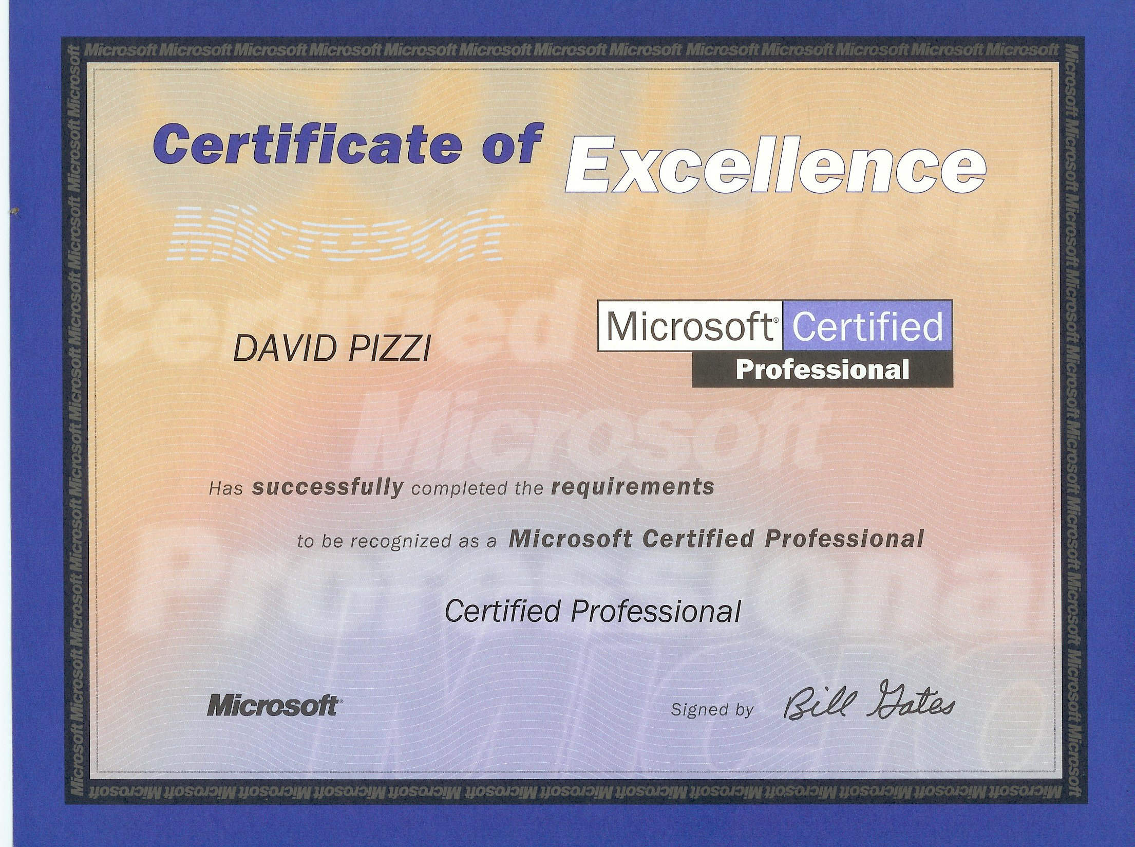 Pizzi Consulting – Microsoft Certificate of Excellence